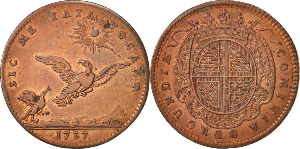 token 1737 france etats de bourgogne copper feuardent 9844 ef 40 45 ma shops. Black Bedroom Furniture Sets. Home Design Ideas