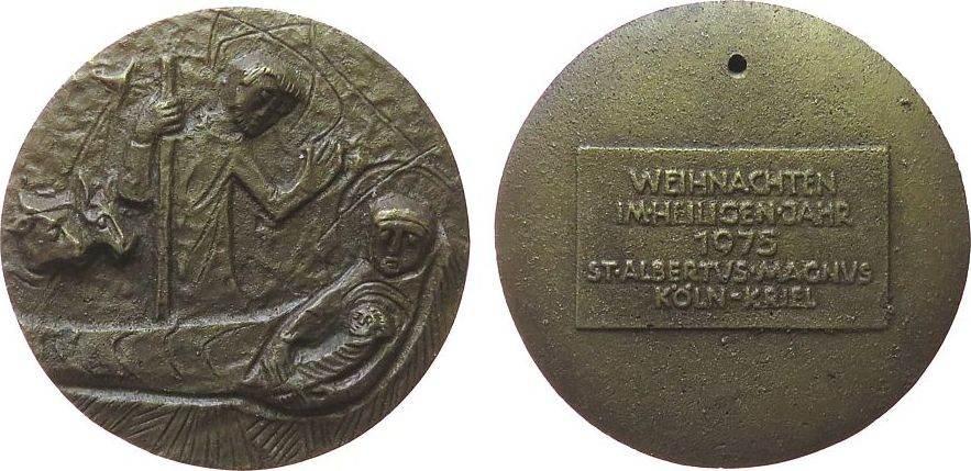 medaille 1975 weihnachtliche motive bronzegu krippenszene. Black Bedroom Furniture Sets. Home Design Ideas