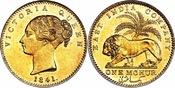 1841-(B) British India East India Company - Victoria Gold Mohur, Bombay mint. NGC MS63